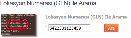kuresel lokasyon numarası ile barkod numarası sorgulama